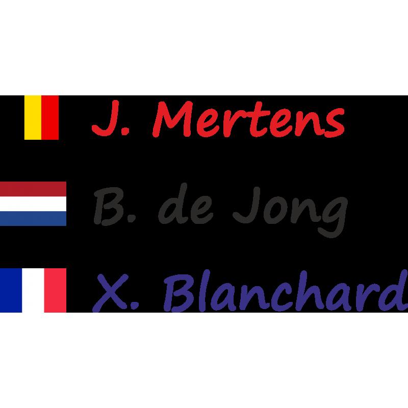 fietsstickers met naam en rechte vlag set van 2 frame