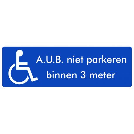 Rolstoel stickers (niet parkeren binnen 3 meter)