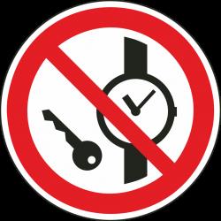 Kleine metalen voorwerpen verboden stickers