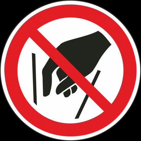 Verboden in vergaarbak te grijpen stickers