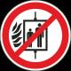 Verboden de lift te gebruiken bij brand stickers