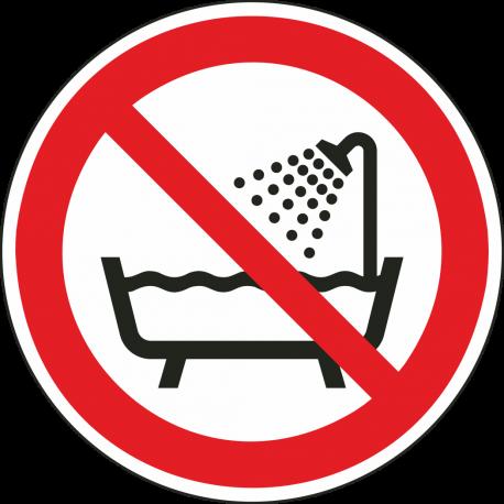 Verboden producten onder douche of in bad te gebruiken stickers