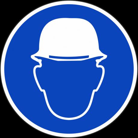 Een rond blauwe sticker, met daarop een witte afbeelding van een hoofd met een veiligheidshelm.