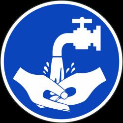 Handen wassen verplicht stickers