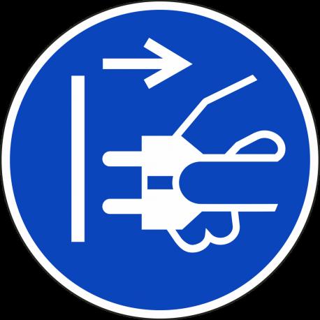 Stekker uit stopcontact trekken bordjes