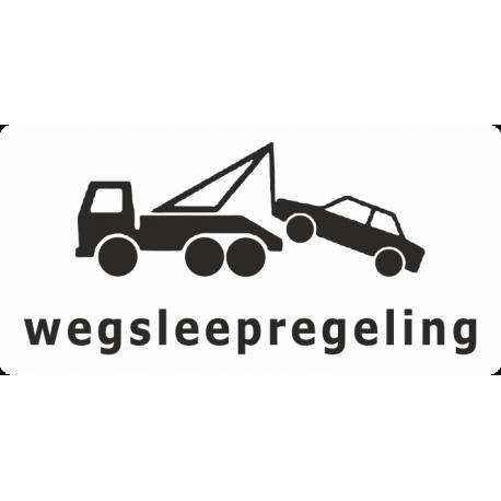 Wegsleepregeling sticker (wit)