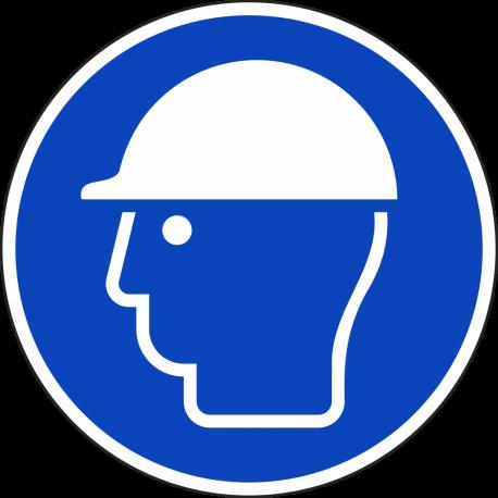 Een rond blauw ISO 7010 bord, met daarop een witte afbeelding van een hoofd met een veiligheidshelm.