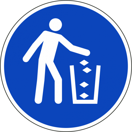 Gebruik de vuilnisbak bordjes
