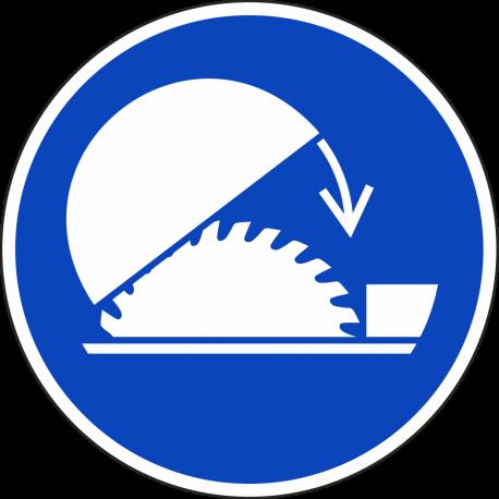 Gebruik veiligheidskap van zaag bordjes