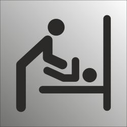 Baby verschoonruimte bordjes (RVS Look)