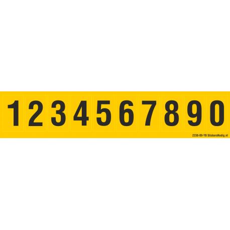 cijfers 0-9, geel - zwart