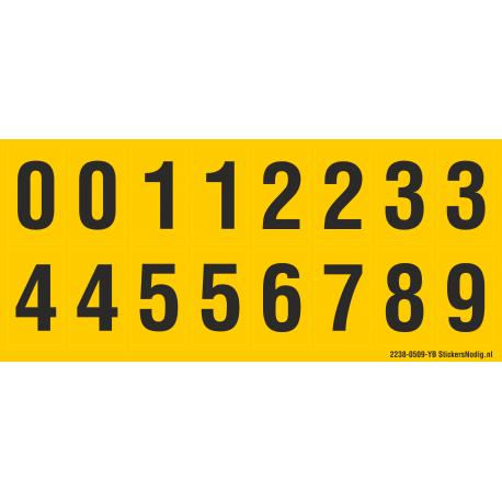 Cijfers 0-5 + 0-9, geel - zwart