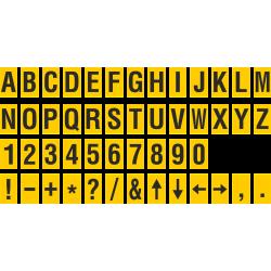 Alfabet en cijfer stickers, geel - zwart