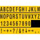 Losse alfabet en cijfer stickers, geel - zwart