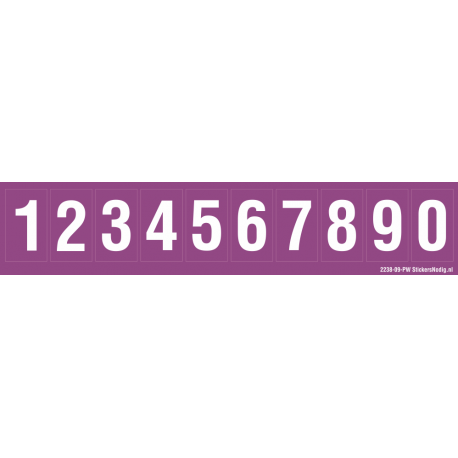 Cijfers 0-9, paars - wit