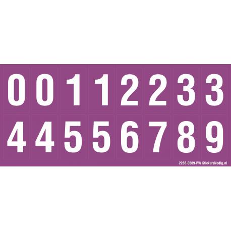 Cijfers 0-5 + 0-9, paars - wit
