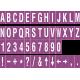 Losse alfabet en cijfer stickers, paars - wit