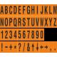 Alfabet en cijfer stickers, oranje - zwart