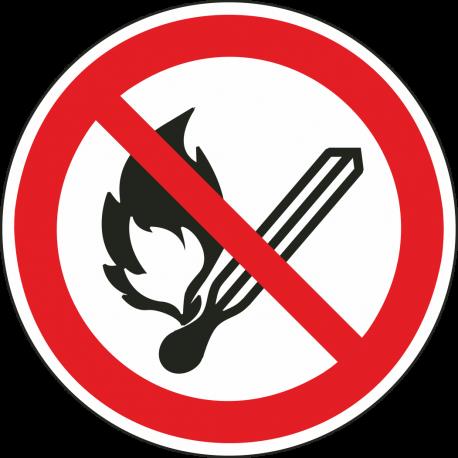 Vuur, open vlam en roken verboden bordjes