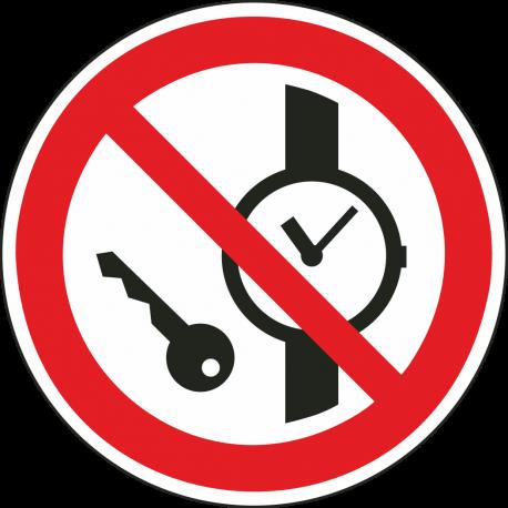Kleine metalen voorwerpen verboden bordjes