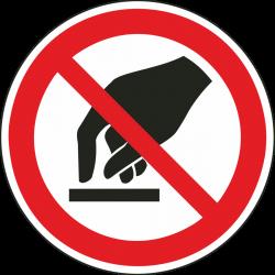 Aanraken verboden bordjes