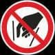 Verboden in vergaarbak te grijpen bordjes