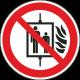 Verboden de lift te gebruiken bij brand bordjes