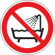 Verboden producten onder douche of in bad te gebruiken bordjes