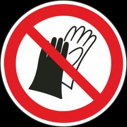 Handschoenen dragen verboden bordjes