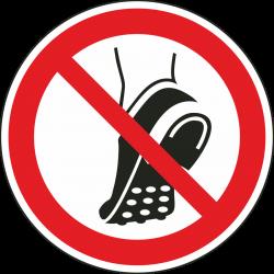 Geen schoenen met metalen noppen dragen bordjes