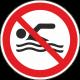 Verboden te zwemmen bordjes