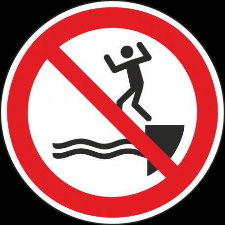 Verboden te springen in het water bordjes