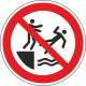 Verboden in het water te duwen bordjes
