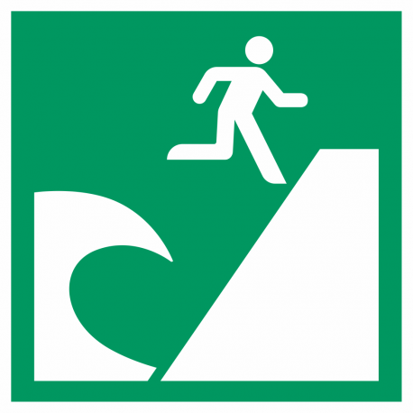 Tsunami evacuatiegebied bordjes