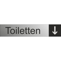 Toiletten aanduidingsborden met pijl (RVS Look)