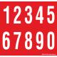 Cijfers 0-9, rood - wit
