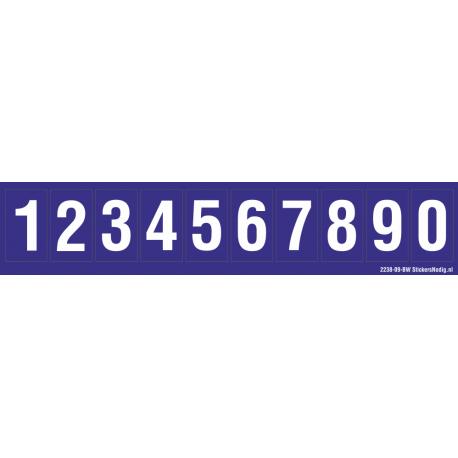 Cijfers 0-9, blauw - wit