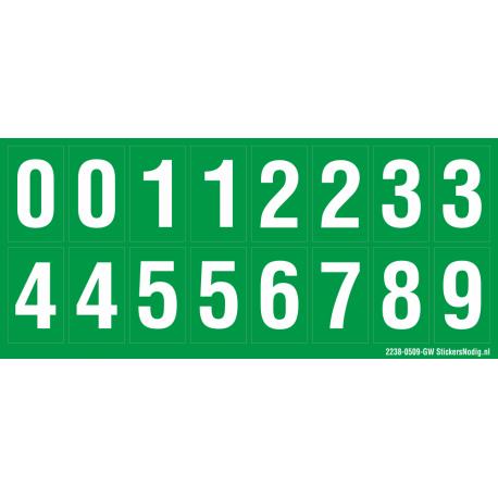 Cijfers 0-5 + 0-9, groen - wit
