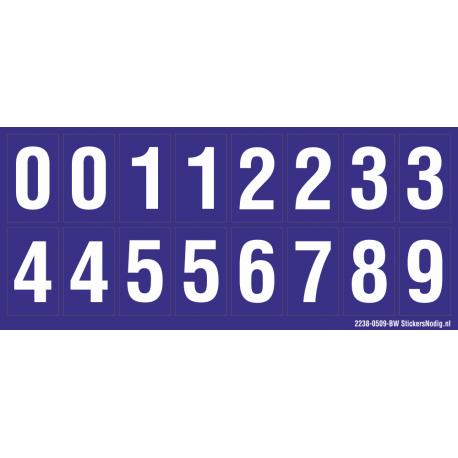 Cijfers 0-5 + 0-9, blauw - wit