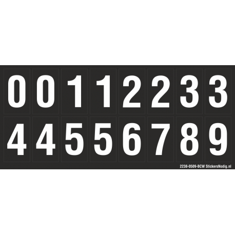 Cijfers 0-5 + 0-9, zwart - wit