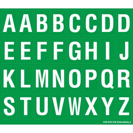 Alfabet letter stickers, groen - wit