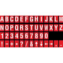 Alfabet en cijfer stickers, rood - wit