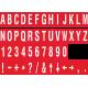 Losse alfabet en cijfer stickers, rood - wit