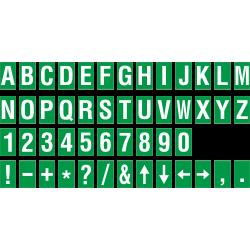 Alfabet en cijfer stickers, groen - wit