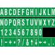 Losse alfabet en cijfer stickers, groen - wit