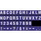 Losse alfabet en cijfer stickers, blauw - wit