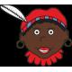 Zwarte piet met rode muts raamsticker