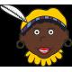 Zwarte piet met gele muts raamsticker