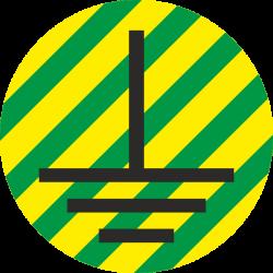 """""""Aarde geleider"""" (geel/groen) stickers"""