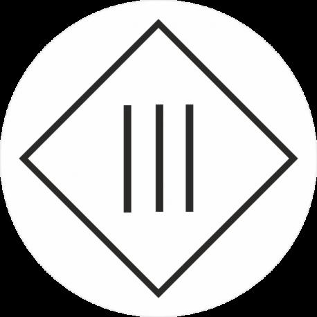 """""""Elektrische veiligheidsklasse 3"""" (wit) stickers"""
